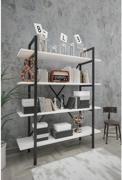 Wood House Sahra Kitaplık Beyaz