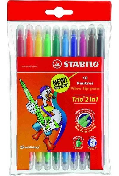 Stabilo Keçeli Kalem Trio Çift Uçlu 222/10-01 10'lu