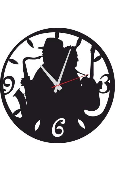 Sa Lazer Siyah Müzisyen Caz Hediyelik Ahşap Dekoratif Duvar Saati 50 cm