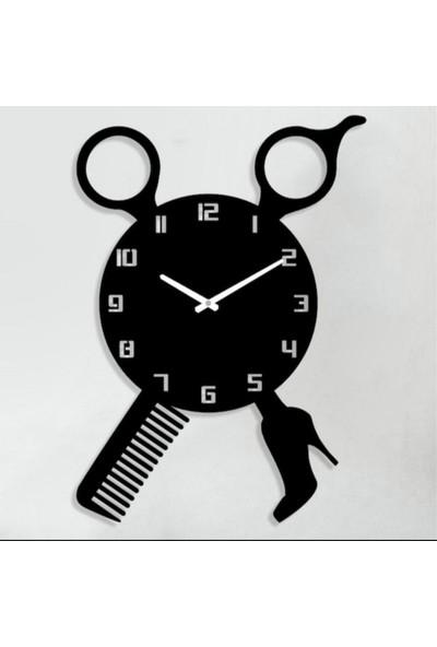 Sa Lazer Siyah Hediyelik Dekoratif Ahşap Kuaför Desenli Duvar Saati 50 cm