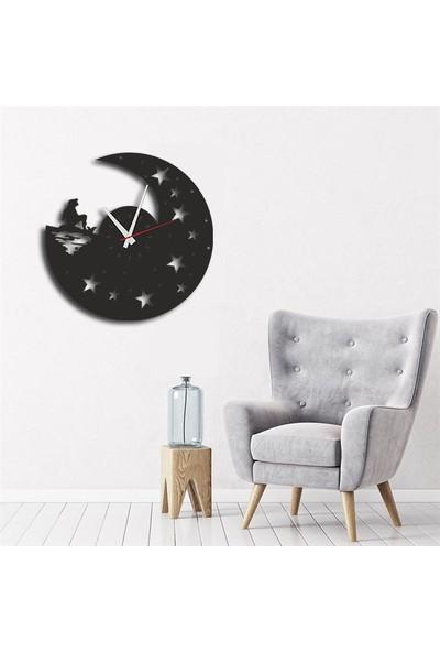 Sa Lazer Siyah Hediyelik Ahşap Dekoratif Yıldız Desenli Duvar Saati 50 cm