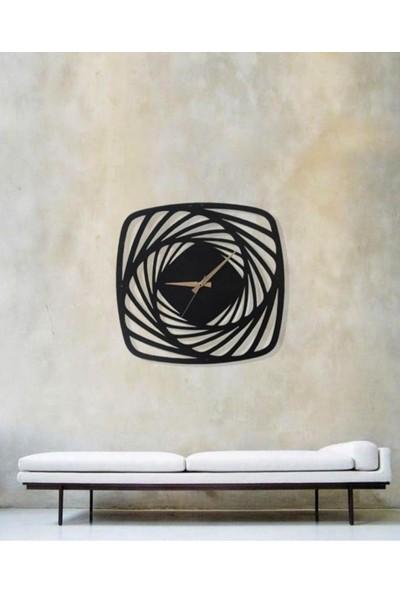 Sa Lazer Siyah Hediyelik Dekoratif Ahşap Farklı Desenli Duvar Saat 50 cm