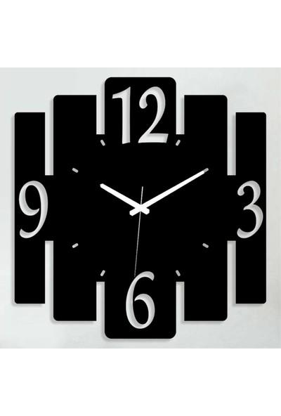 Sa Lazer Siyah Hediyelik Dekoratif Ahşap Farklı Desen Duvar Saat 50 cm S-13
