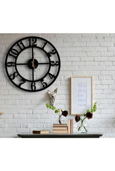 Sa Lazer Siyah Hediyelik Ahşap Dekoratif Sade Desenli Duvar Saati 50 cm