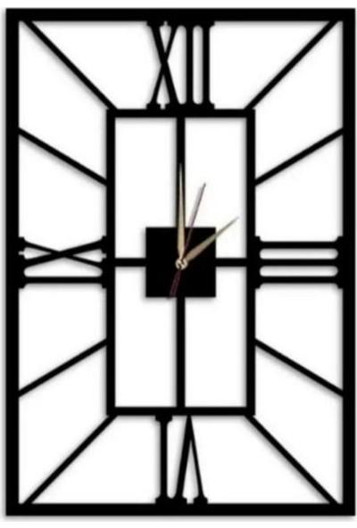 Sa Lazer Siyah Hediyelik Dekoratif Ahşap Dikdörtgen Desen Duvar Saat 50 cm