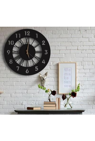 Sa Lazer Siyah Hediyelik Ahşap Dekoratif Farklı Desenli Duvar Saati 50 cm