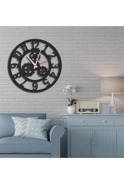 Sa Lazer Siyah Hediyelik Ahşap Dekoratif Mekanik Desenli Duvar Saati 50 cm