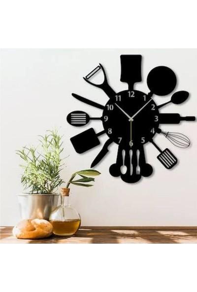 Sa Lazer Siyah Hediyelik Ahşap Dekoratif Mutfak Desenli Duvar Saat 50 cm