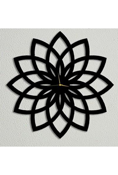 Sa Lazer Siyah Hediyelik Ahşap Dekoratif Çiçek Desenli Duvar Saat 50 cm