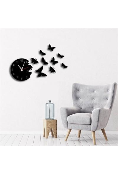 Sa Lazer Siyah Hediyelik Ahşap Dekoratif Kelebek Desenli Duvar Saati 50 cm
