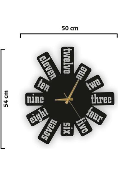 Sa Lazer Siyah Hediyelik Dekoratif Ahşap Farklı Desen Duvar Saat 50 cm