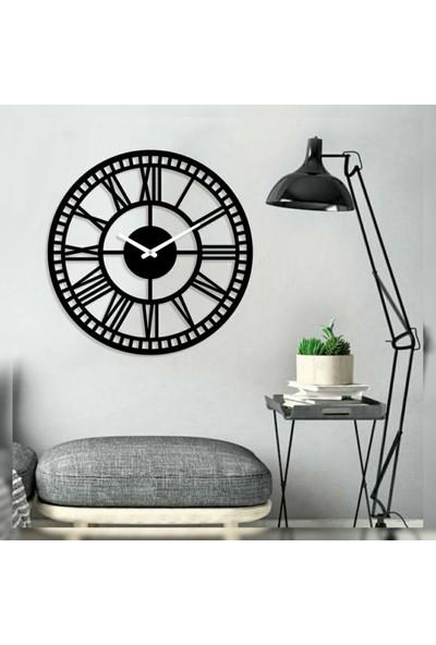 Sa Lazer Siyah Ahşap Hediyelik Dekoratif Farklı Roma Rakam Duvar Saat 50 cm