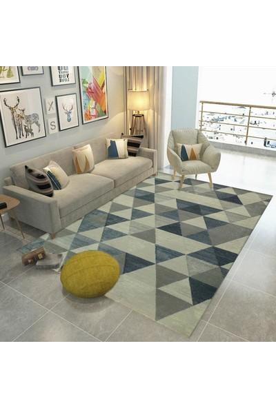 Balat Halı Üçgen Desenli Çökme Efektli Mavi Oturma Odası Halısı