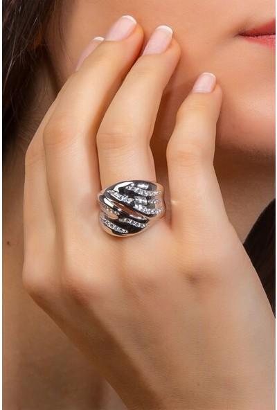 Glint Point Simetrik Zirkon Taşlı Klasik Model Kadın Gümüş Yüzük