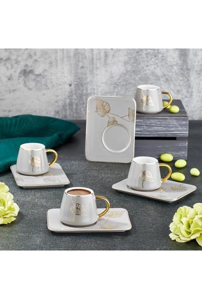Aryıldız Prestige New Bone Beyaz Gold 6 Kişilik Kahve Fincan Takımı