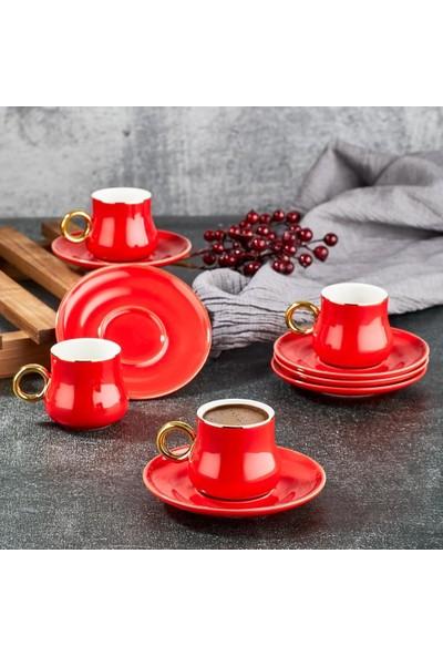 Aryıldız Prestige New Bone Kırmızı 6 Kişilik Kahve Fincan Takımı