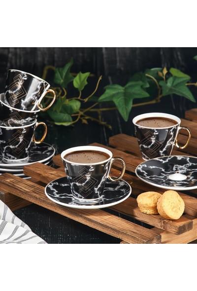 Aryıldız Prestige New Bone Siyah 6 Kişilik Kahve Fincan Takımı