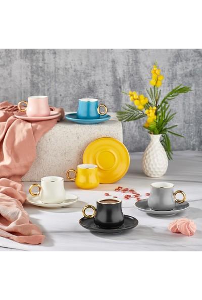 Aryıldız Prestige New Bone Renkli 6 Kişilik Kahve Fincan Takımı