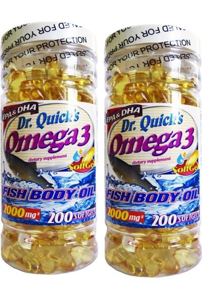 Dr Quicks Omega 3 Fish Oil 2000 Mg 200 Softgels 2 Adet