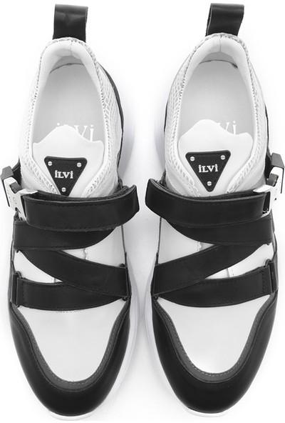İlvi Bono Erkek Spor Ayakkabı Siyah-Beyaz Deri