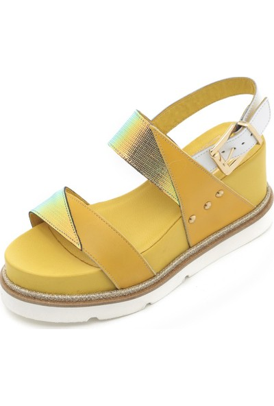 İlvi Bren Kadın Sandalet Sarı-Beyaz-Renkli Desen