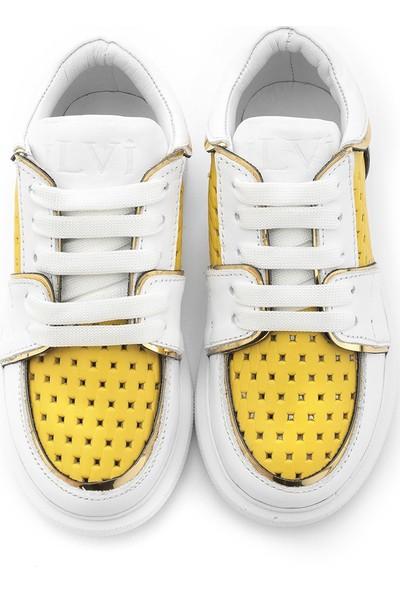 İlvi Forno Unisex Çocuk Spor Ayakkabı Beyaz Sarı