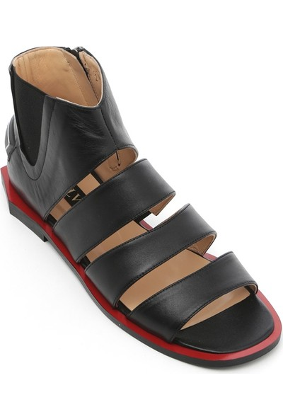 İlvi Ile Kadın Sandalet Siyah Deri