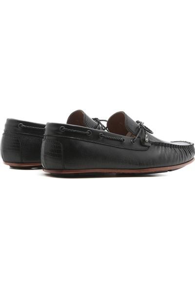 İlvi Kamila Erkek Makosen Ayakkabı Siyah Stil Lazer