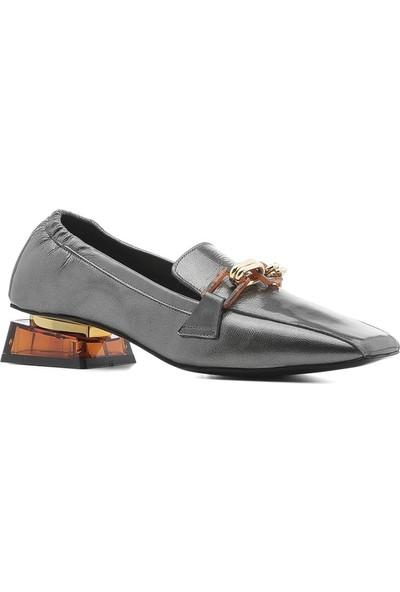 İlvi Lost Kadın Makosen Ayakkabı Platin Rugan