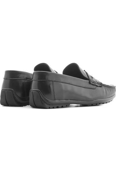 İlvi Maxwell Erkek Makosen Ayakkabı Siyah Antik