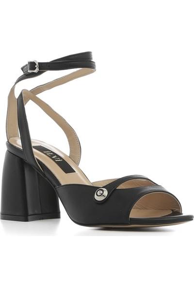 İlvi Regaton Kadın Sandalet Siyah Deri