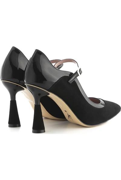 İlvi Sova Kadın Topuklu Ayakkabı Siyah Süet - Siyah Rugan