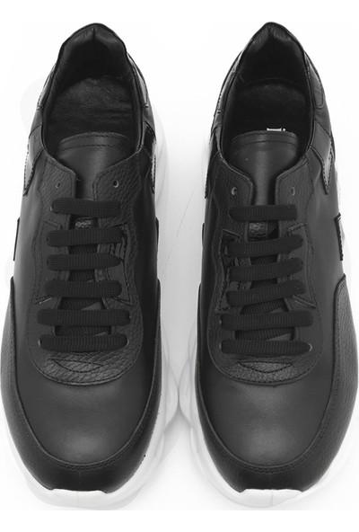 İlvi Wow Erkek Spor Ayakkabı Siyah Deri