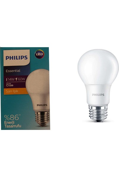 Philips Essential 8W - 60W LED Ampul E27 Sarı Işık 6'lı