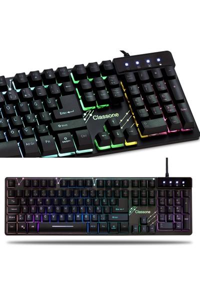 Classone RGB10 Metal LED Işıklı Klavye