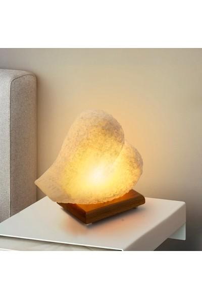 Doğaca Kalp Tasarımlı Dekoratif Doğal Çankırı Kaya Tuzu Gece Lambası