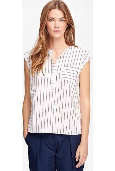Brooks Brothers Kadın Beyaz Çizgili Bluz