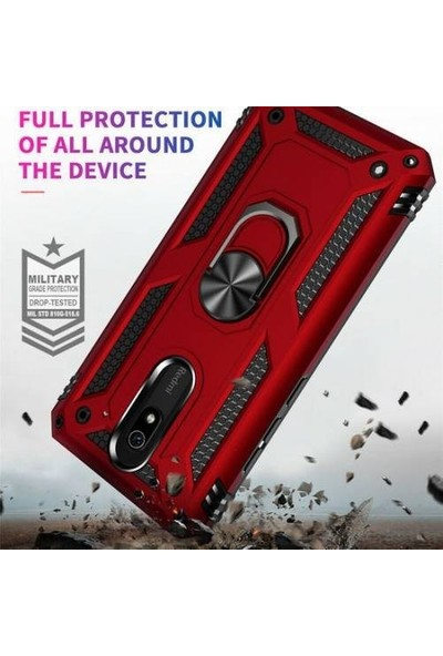Magazabu Xiaomi Redmi 8A Kılıf Vega Yüzüklü Standlı Silikon Kırmızı