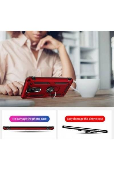 Magazabu Xiaomi Redmi 8A Kılıf Vega Yüzüklü Standlı Silikon Gümüş