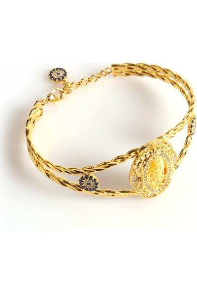 Dehaberkstore Altın Kaplama Zirkon Taşlı Bilezik Modeli Bileklik