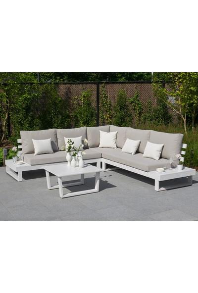 Zenio Lyra Bahçe Köşe Takımı Beyaz