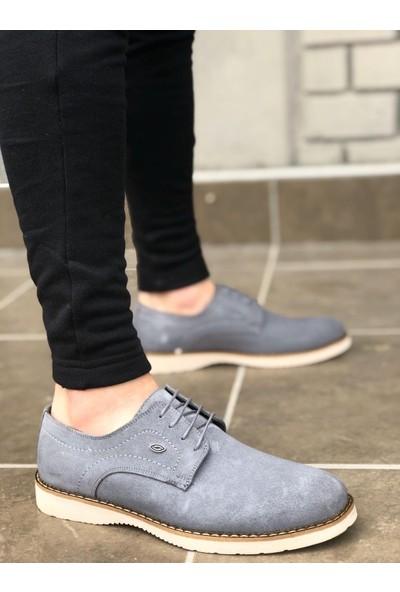 BOA-BA0106 İçi Dışı Hakiki Deri Gri Süet Bağcıklı Klasik Erkek Ayakkabı