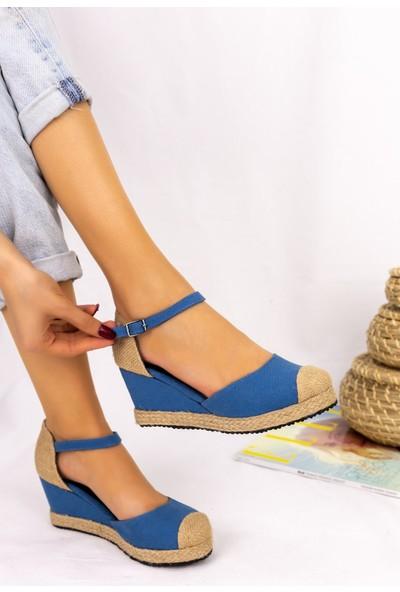 Erbilden Neyma Bebe Mavisi Dolgu Topuk Sandalet