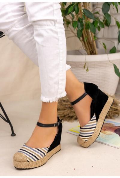 Erbilden Neyma Siyah Süet Hasır Detaylı Sandalet