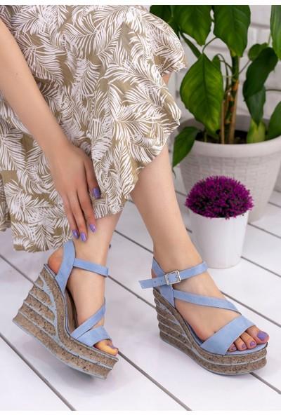 Erbilden Simla Bebe Mavisi Süet Dolgu Topuk Sandalet