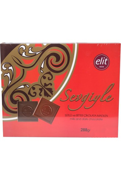 Elit Sevgiyle Sütlü&Bitter Çikolata Madlen 288Gr(Kırmızı)