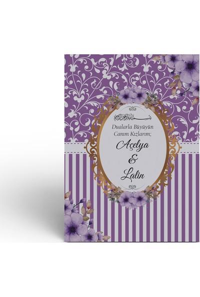 Mutluluk Atölyem Mor Çiçek Motifli Çanta + Tesbih + Yasin Cüzü Kitabı Mevlüt Seti - 10'lu Paket
