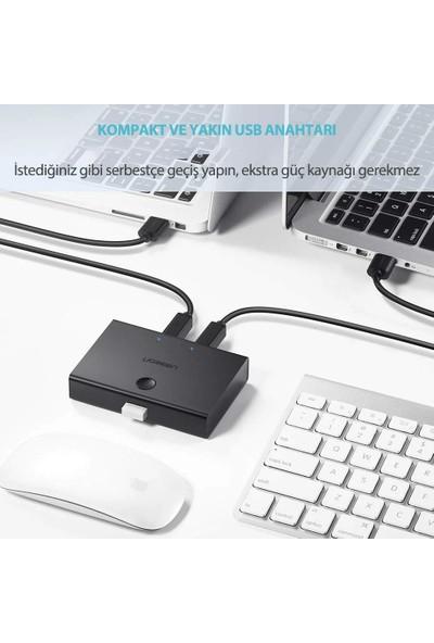 Ugreen 2 Giriş 1 Çıkış USB Km Switch