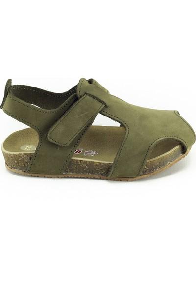 Minipicco Unisex Çocuk Haki Deri Sandalet