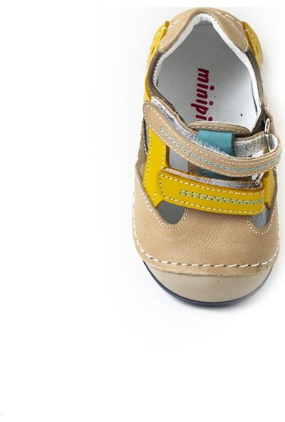 Minipicco Erkek Bebek Kum Deri İlk Adım Ayakkabı